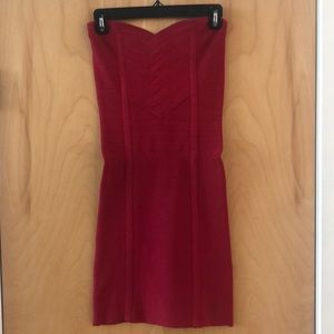 BEBE bandage Strapless Dress in Red Size Small
